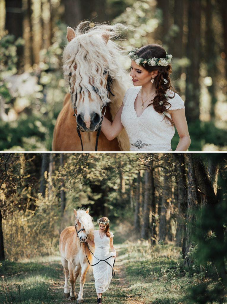 Waldhochzeit mit Haflinger Pferd und Braut