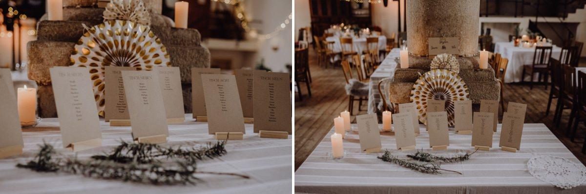 Sitzplatzkarten vom Brautpaar